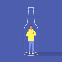 Alcohol and addiction, Young male character trapped inside a bottle, health problems