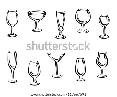 Alcohol and drink glasses set isolated on white background, such a logo template. Jpeg version also available in gallery