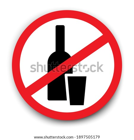 Alcohol ban. A bottle with a glass crossed out. Prohibition to drink alcohol. Stock image. EPS 10.   Сток-фото ©