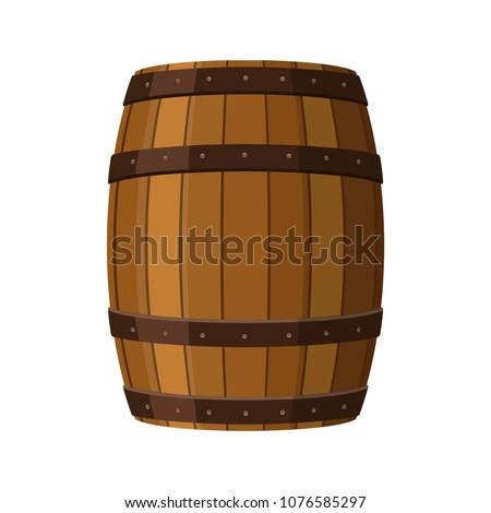 Alcohol barrel, drink container, wooden keg icon isolated on white background. Barrel for wine, rum, beer or gunpowder. Vector Illustration