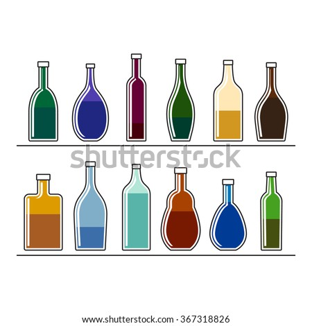 Alcohol beverage bottles, simple line icons. Vector. #367318826