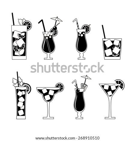 alcohol  beverage icons set