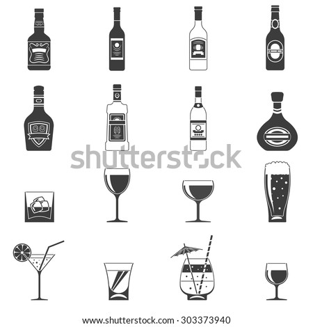 alcohol black icons set with