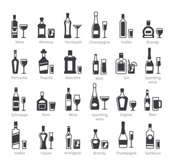 Alcohol bottles black glyph vector icons collection. Different alcoholic drinks with names set. Gin, vodka, brandy, absinthe beverages. Bar liquors, booze silhouette illustrations isolated on white