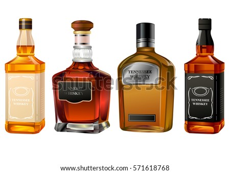 alcohol bottles set isolated on white