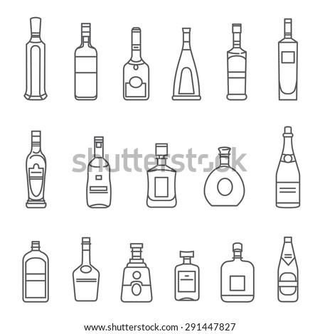 alcohol bottles set of black