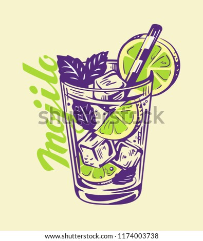 alcohol cocktail Mojito in glass. Vector illustration