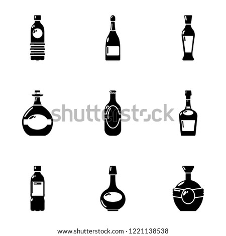 alcohol dependence icons set