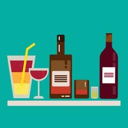 Alcohol drink barman icon flat set. Wine, spirit, cocktails, wine, whiskey, bar, bottle, glasses, liquor.