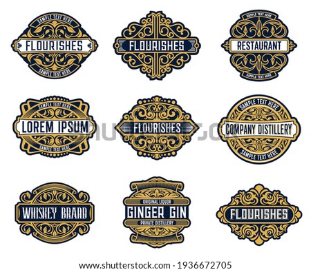 Alcohol drink brand, beverage or company retro labels with ornate and flourish embellishments. Whiskey, ginger gin liquor or wine, distillery, restaurant or bar vintage badge, coaster vector templates Foto d'archivio ©