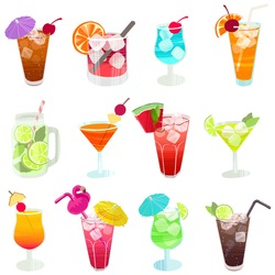 Alcohol drinks and cocktails. Hand drawn glasses with different beverage. Colorful seamless vector pattern in flat style.