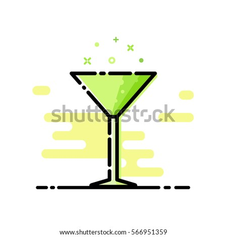Alcohol drinks and cocktails icon in filled outline design style. Cocktail glass with drink icons for menu, web and graphic design. Vector illustration.