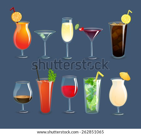 alcohol drinks and cocktails in
