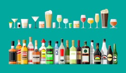 Alcohol drinks collection. Bottles with glasses. Vodka champagne wine whiskey beer brandy tequila cognac liquor vermouth gin rum absinthe sambuca cider bourbon. Vector illustration in flat style