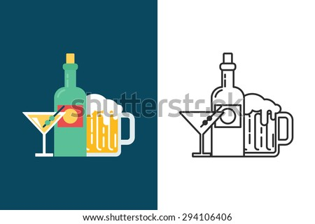 Alcohol drinks flat and line style vector icon
