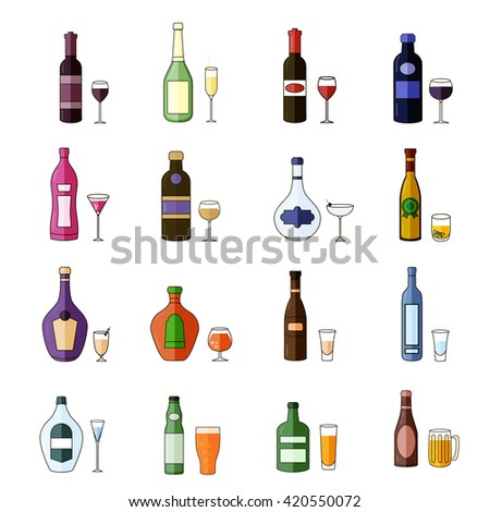 Alcohol Drinks Icon Set in Flat Design Style. #420550072