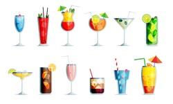 Alcohol drinks icon set in trendy flat design style. Popular cocktails for design menu, posters, brochures for cafe, bar.