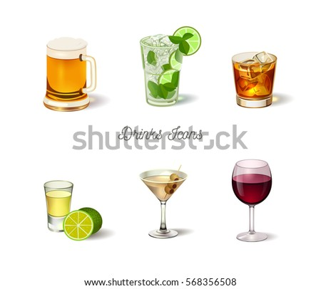 Alcohol drinks icons set, realistic vector illustration