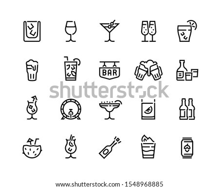 alcohol drinks line icons