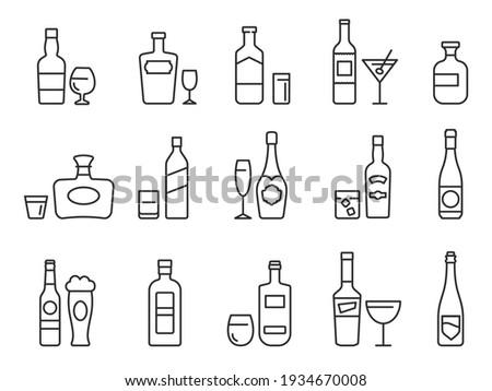Alcohol drinks line icons. Outline bottles and glasses with beer, wine and bar cocktails. Pub menu symbols for alcoholic beverage vector set