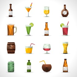 Alcohol drinks polygonal icons set with beer bottle cocktail glass isolated vector illustration