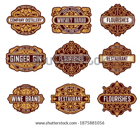 Alcohol drinks retro label floral embellishments. Whiskey, wine and ginger gin beverages brand badges with leaves and curls ornament decoration. Restaurant and distillery company vintage emblems Foto d'archivio ©