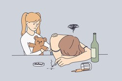 Alcohol drug addiction and help concept. Little sad cute girl standing near her mother and touching her shoulder wanting to help her feeling unhappy vector illustration