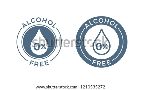 Alcohol free vector icon. Skin and body care cosmetic product medical alcohol free drop and percent symbol