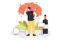 Alcohol hangover of drunk man with strong migraine, headache. Addicted character standing among wine glasses, bottle, dizzy sick brain flat vector illustration. Problem of alcohol addiction concept