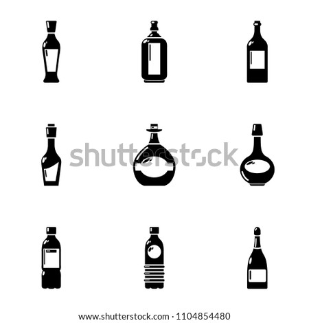 alcohol icons set simple set