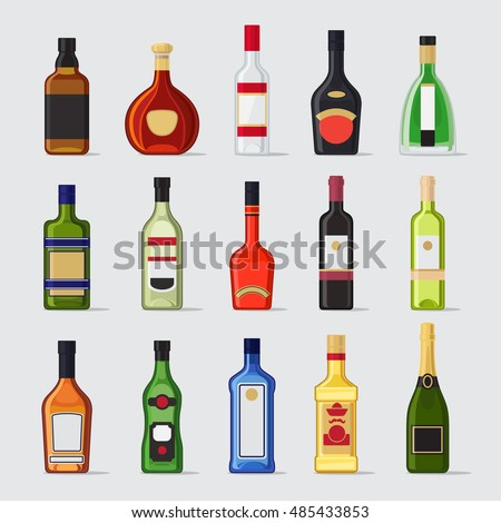 Alcohol in a bottle flat icons. Drinks bottles vector illustration #485433853