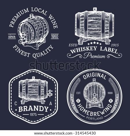 alcohol logos. wooden barrels...
