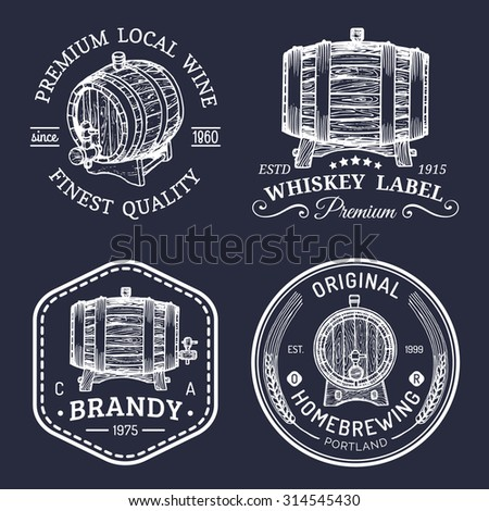 alcohol logos. wooden barrels...