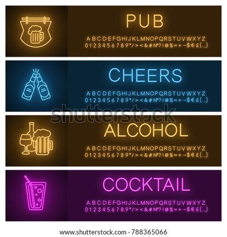 Alcohol neon light banner templates set. Pub and bar signboard, toasting beer bottles, cocktail, alcohol drinks. Website glowing menu items. Vector isolated illustrations
