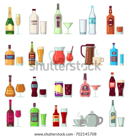 Alcoholic and soft drinks. Beverages in glass and bottles flat vector icons. Cocktail and alcohol bottle, coffee and drink beverage illustration