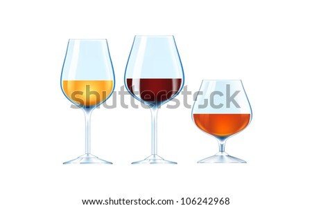 Alcoholic beverages isolated over white background