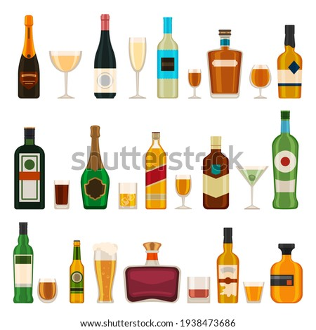 Alcoholic bottles and glasses. Alcohol cocktail drinks, champagne, beer, brandy and martini, gin and cognac. Bar menu flat vector icons set Stock photo ©