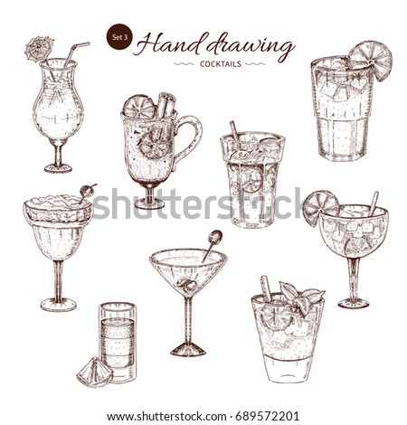 Alcoholic cocktails hand drawn monochrome set with bloody mary pina colada margarita and mojito isolated vector illustration