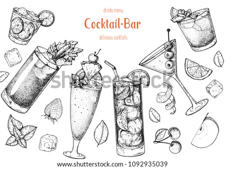 alcoholic cocktails hand drawn