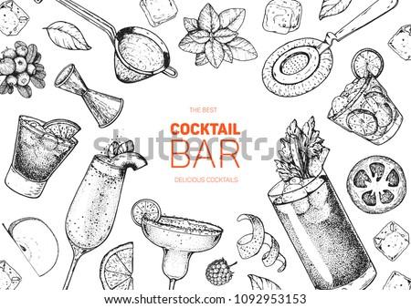 Alcoholic cocktails hand drawn vector illustration. Cocktails sketch set. Engraved style. Bar menu sketch elements. Negroni, bellini, margarita, bloody mary, caipiroska.