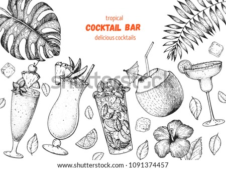 Alcoholic cocktails hand drawn vector illustration. Cocktails sketch set. Engraved style. Tropical collection. Singapore sling, pina colada, mojito, coconut cocktail, margarita.