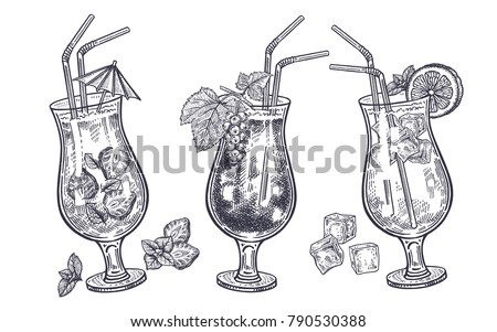 Alcoholic cocktails set. Drinks in cocktail glasses isolated on white background. Handmade sketch of beverage. Vintage engraving. Black and white vector illustration art.