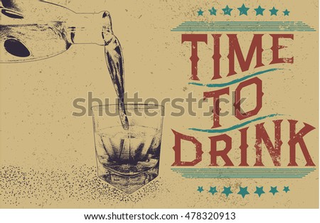 alcoholic drink is poured from bottle in glass.Vintage style.Vector monochrome illustration