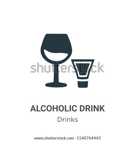Alcoholic drink vector icon on white background. Flat vector alcoholic drink icon symbol sign from modern drinks collection for mobile concept and web apps design.