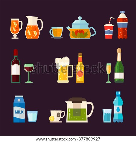 Alcoholic drinks and non alcoholic drinks with bottles and glasses isolated.  Vector set of different beverages: water, milk, beer, lemonade, green tea, black tea, wine, cola, champagne.