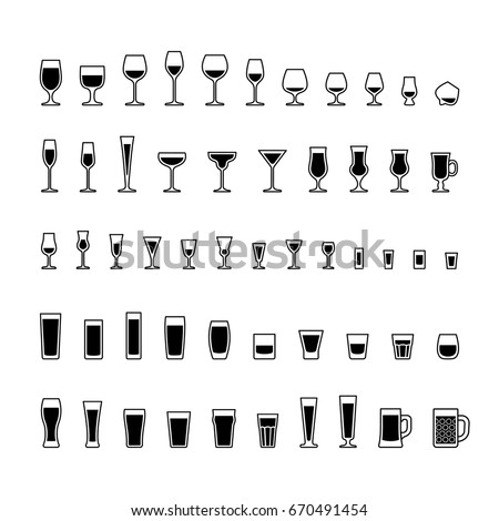 alcoholic drinks glasses black