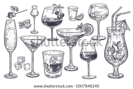 alcoholic drinks set. glass of...