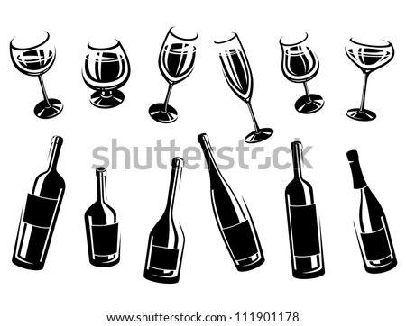 alcoholic glass collection - stock vector