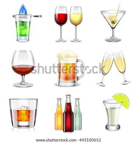 alcoholic icons detailed photo