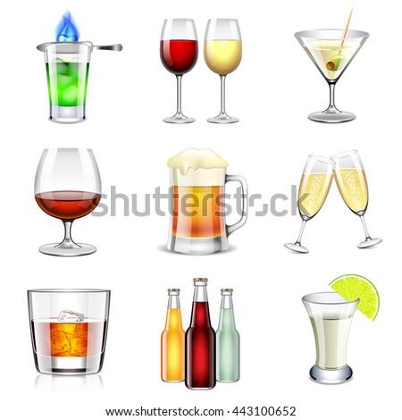 alcoholic icons detailed photo